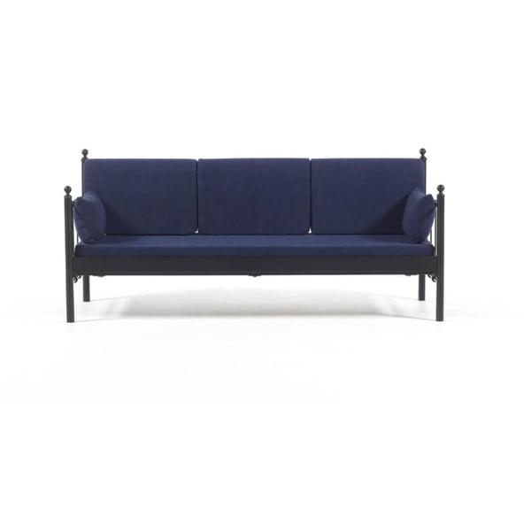 Canapea cu 3 locuri de grădină Lalas DK, 76 x 209 cm, albastru-negru