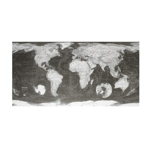 Mapa světa World Map 130x72 cm, monochromní