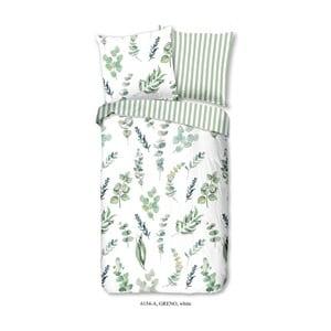 Zeleno-bílé bavlněné povlečení na jednolůžko Good Morning Greno, 140x200cm