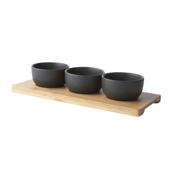Set tavă cu 3 boluri KJ Collection, negru