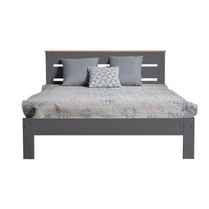 Antracitově šedá dvoulůžková postel z masivního borovicového dřeva Marckeric Jade, 140x190cm