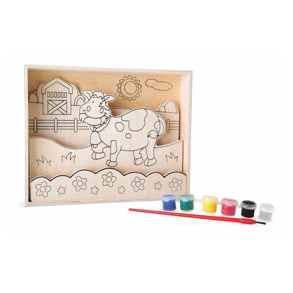 Cartea de colorat din lemn cu vopsea și pensulă Legler Farm