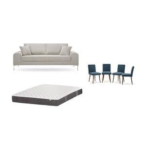 Set třímístné krémové pohovky, 4modrých židlí a matrace 160 x 200 cm Home Essentials
