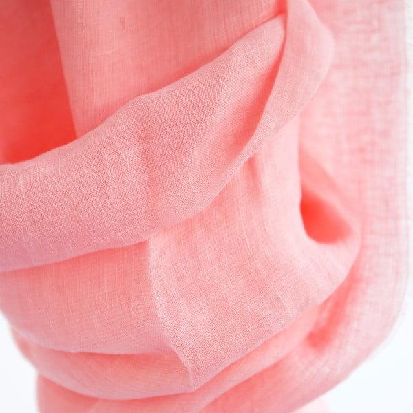 Lněný šátek Luxor 65x200 cm, růžový