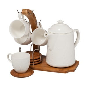 Kávový porcelánový set s bambusovým podnosem