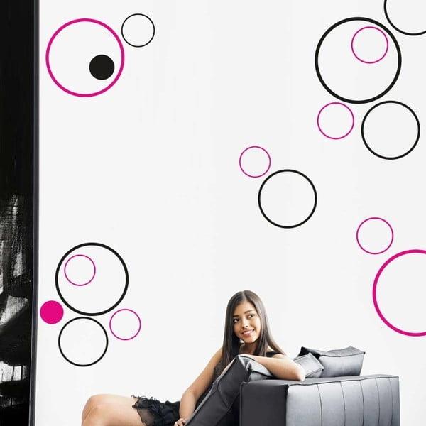 Samolepka na stěnu Kroužky, černá a růžová