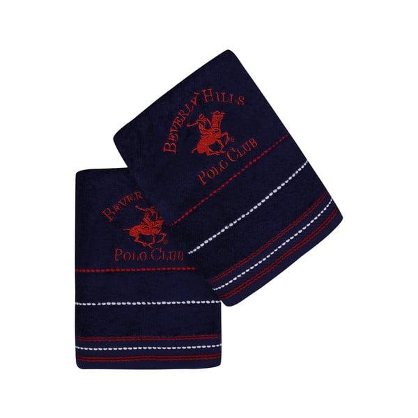 Sada 2 modrých ručníků na ruce Polo Club, 50x90cm