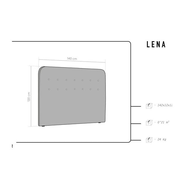 Světle šedé čelo postele HARPER MAISON Lena, 140 x 120 cm