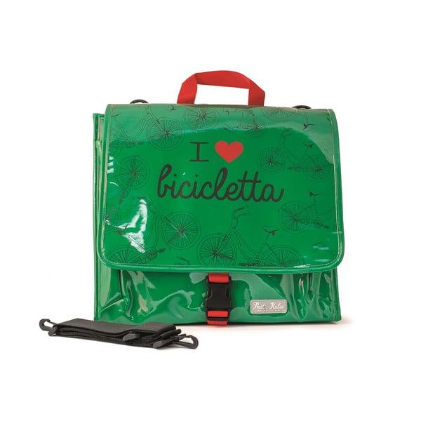 Messenger taška na kolo I ♥ Bicicleta, zelená