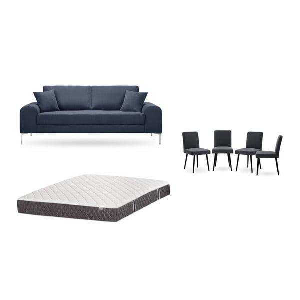 Set canapea albastru închis cu 3 locuri, 4 scaune gri antracit, o saltea 160 x 200 cm Home Essentials