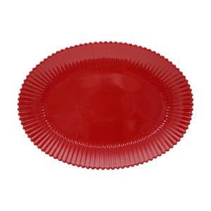 Rubínově červený kameninový oválný tác Costa Nova Pearl, šířka 50 cm