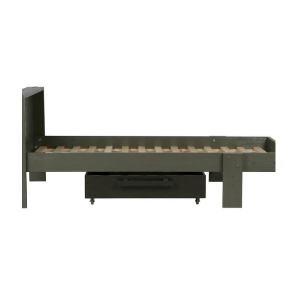 Zelená postel z borovicového dřeva s úložným prostorem De Eekhoorn Derk