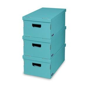 Sada 3 tyrkysových úložných boxů Domopak