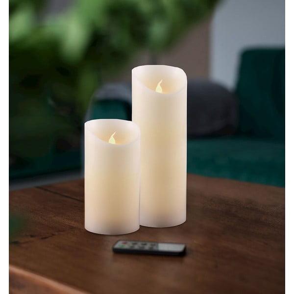 Zestaw 2 świeczek LED z pilotem DecoKing Wax, wys. 12,5 i 20 cm