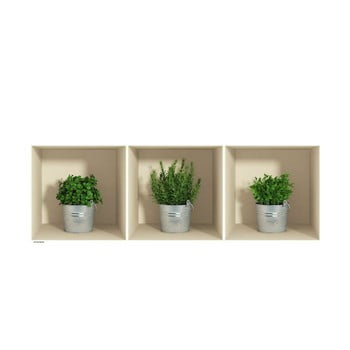 Set 3 autocolante cu efect 3D Ambiance Herbs in Pot imagine
