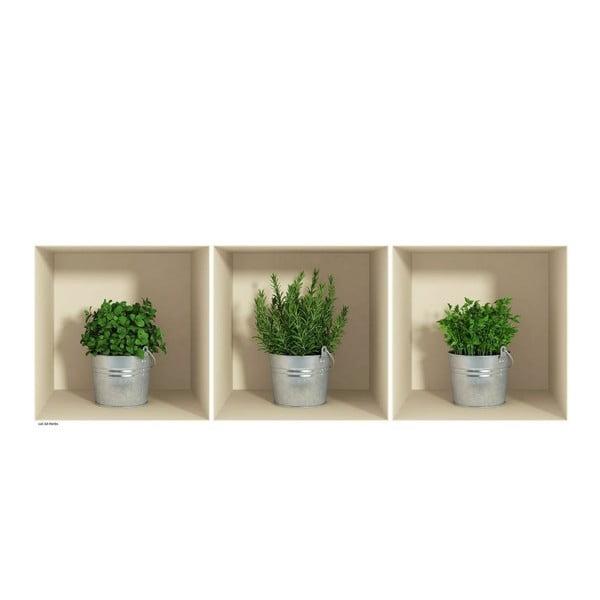 Sada 3 samolepek s 3D efektem Ambiance Herbs in Pot