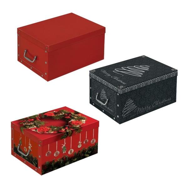 Sada 3 úložných boxů Christmas, 48x35 cm