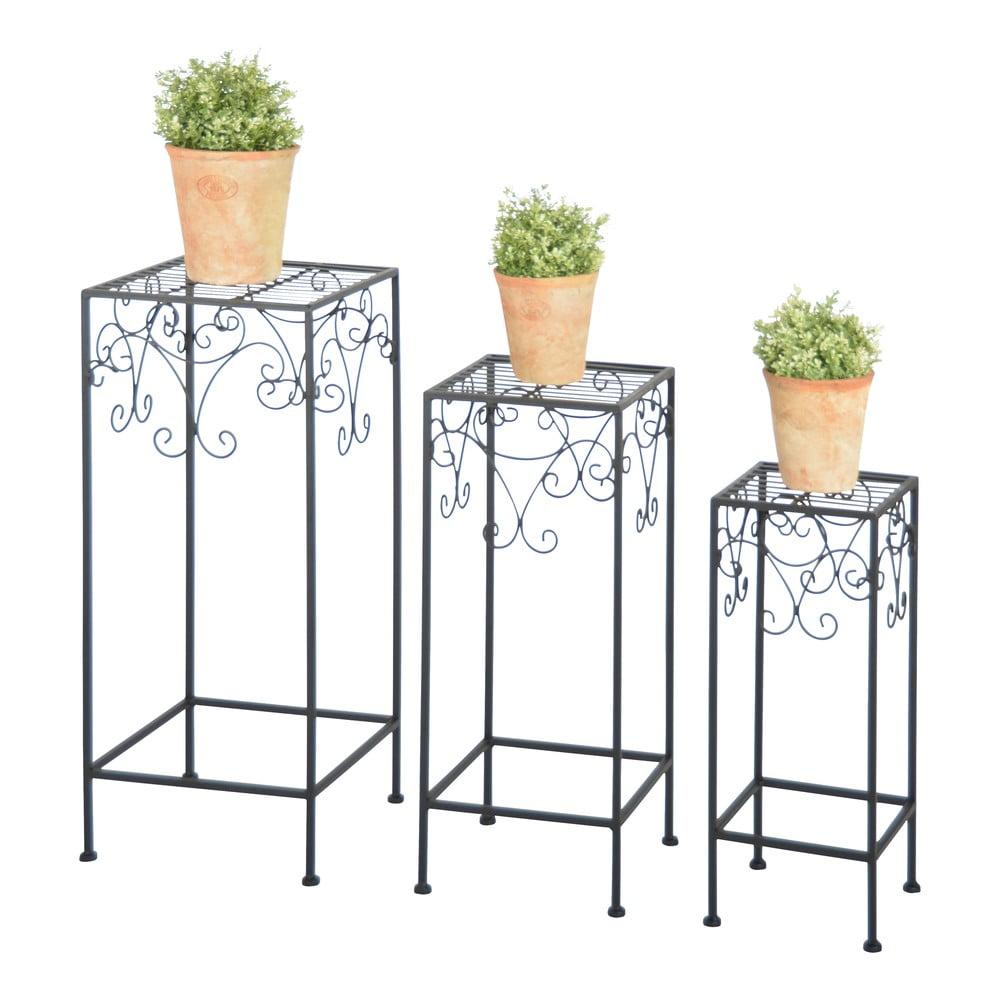 Sada 3 černých stolků na květiny Esschert Design