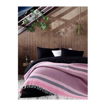 Cuvertură din bumbac pentru pat dublu Galina Pink Red White, 220 x 240 cm, roz de la EnLora Home