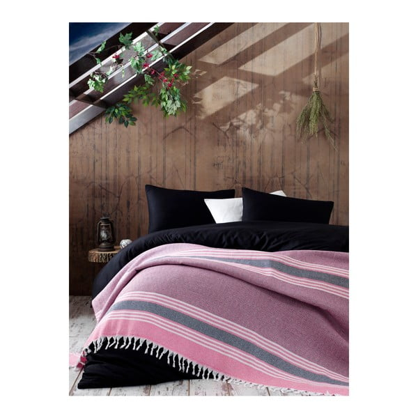 Cuvertură din bumbac pentru pat dublu Galina Pink Red White, 220 x 240 cm, roz