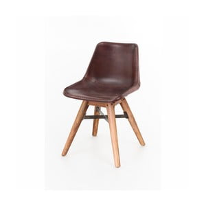 Jídelní židle z akáciového dřeva a kůže WOOX LIVING Finn