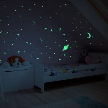 Autocolant fosforescent pentru perete Ambiance Moon and Planets imagine