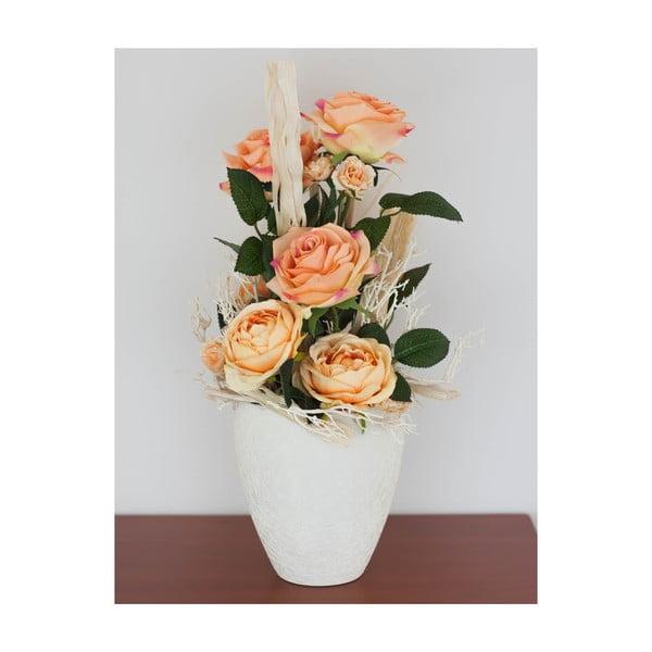 Květinová dekorace od Aranžérie, sada květináčů s oranžovými růžemi