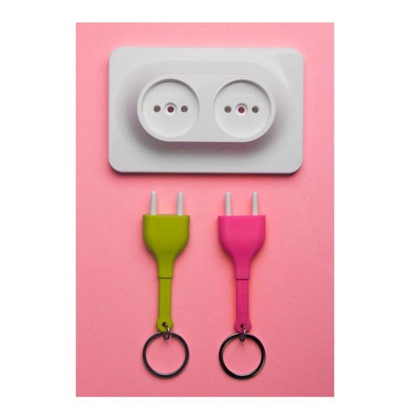 Věšák na klíče Unplug Key Ring, zelená/růžová