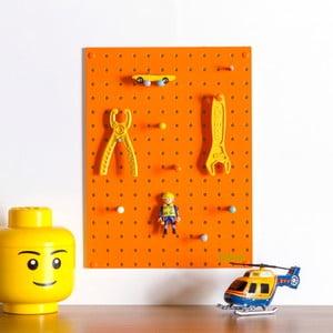 Oranžová multifunkční nástěnka Pegboard Small, 40,5x30cm