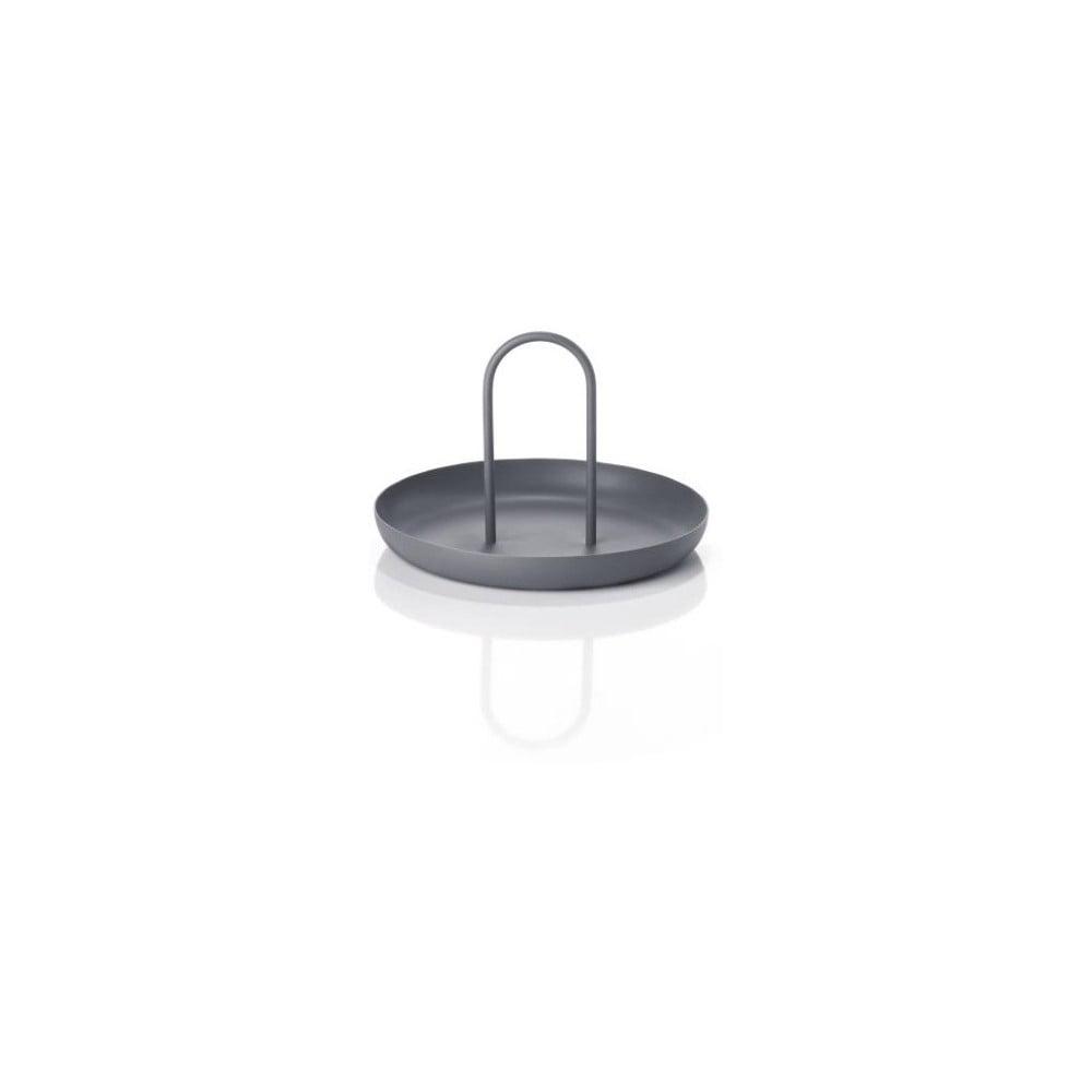 Tmavě šedý kovový servírovací tác Zone Singles, ø 20 cm
