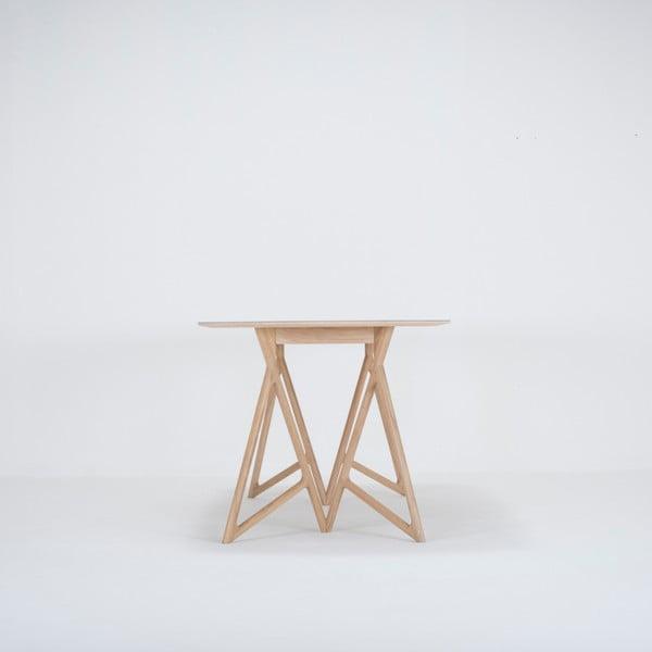 Jídelní stůl z masivního dubového dřeva se zelenou deskou Gazzda Koza, 200x90cm