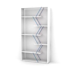 Bílá knihovna s modrým detailem Rafevi Tars