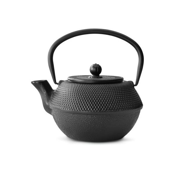 Čierna liatinová kanvica so sitkom na sypaný čaj Bredemeijer Jang, 1,2 l