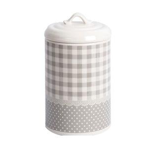 Keramická dóza Grey Dots&Checks, 21 cm