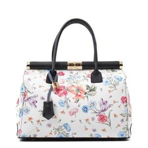 Bílo-růžová kožená kabelka s květinovým motivem Renata Corsi