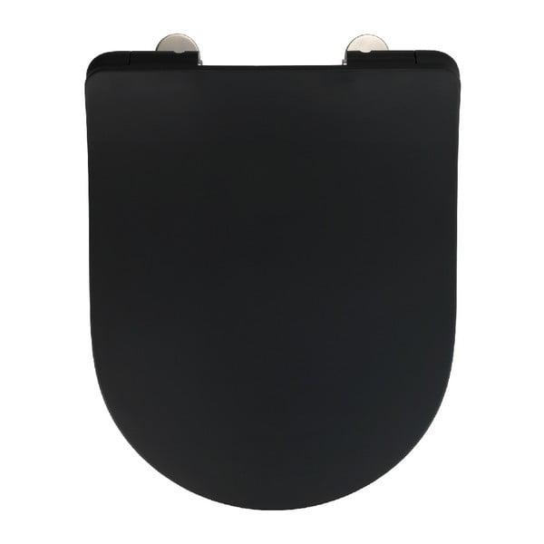 Černé WC sedátko Wenko Sedilo Black, 45,2 x 36,2 cm