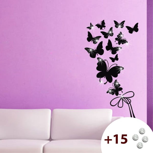 Set samolepky a 15 Swarovski krystalů Fanastick Butterflies
