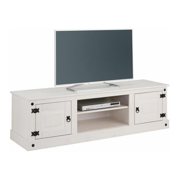 Bílý TV stolek z borovicového dřeva Støraa Alfredo