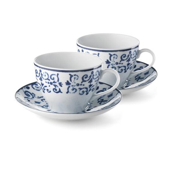 Sada 2 porcelánových šálků Antico Blue, 400 ml