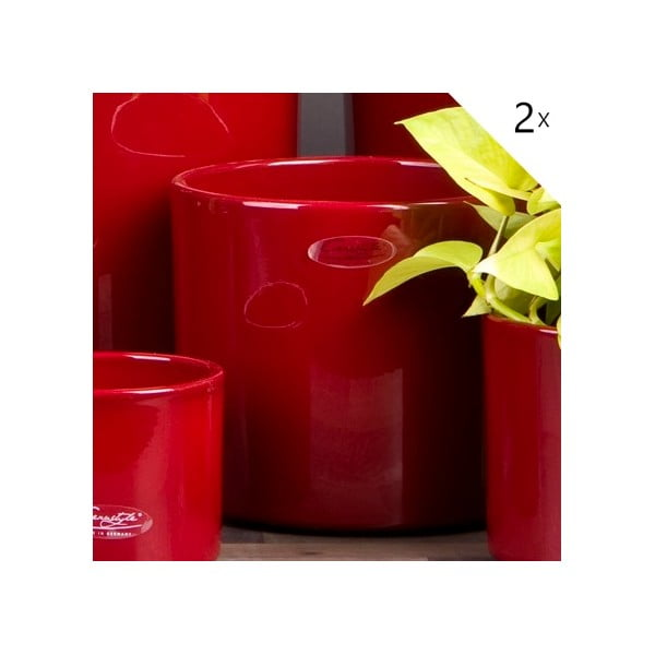 Sada 2 červených květináčů Ovale, 17 cm