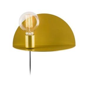 Hořčicově žlutá nástěnná lampa s poličkou Shelfie, výška 15 cm