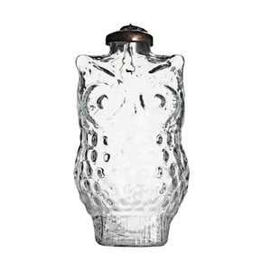 Sada čtyř skleněných ozdob Owl, 10 cm, průhledná