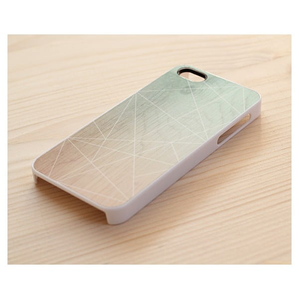 Obal na iPhone 5, Ombre mint geometric wood/white