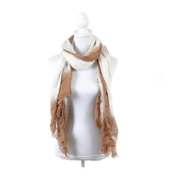 Šátek/pareo BLE Inart 100x180 cm, hnědý/bílý