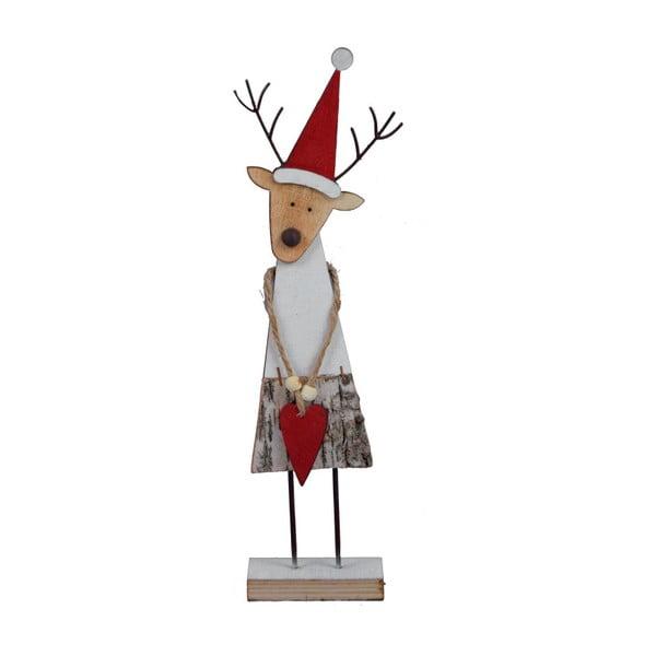 Dekoratívna vianočná drevená soška Ego Dekor Reindeer, výška 32,5 cm