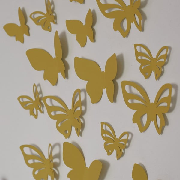 Sada 3D motýlků - zlatá perleť,  24 ks