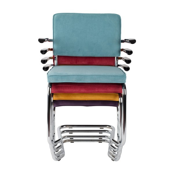 Set 2 scaune cu cotiere Zuiver Ridge Kink Rib, roșu