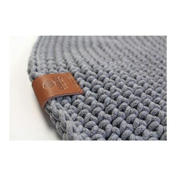 Háčkovaný kulatý koberec Catness, šedý, 100 cm