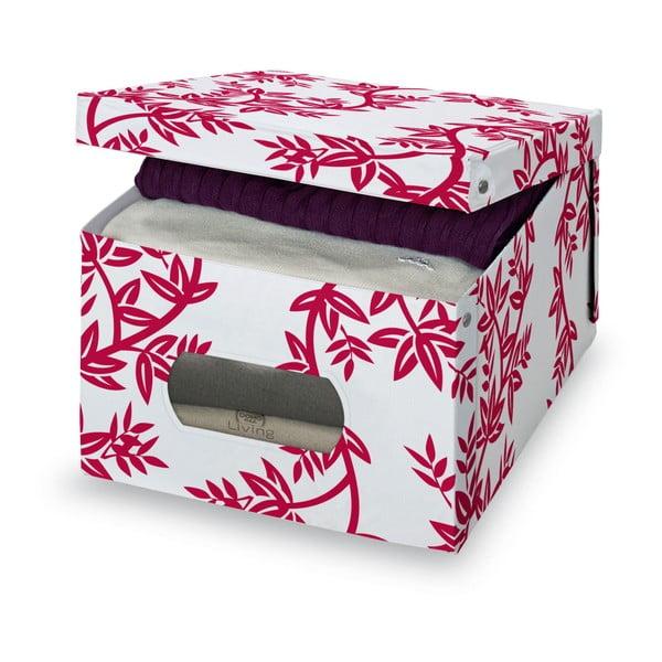 Červeno-biely úložný box Domopak Living, výška 24 cm