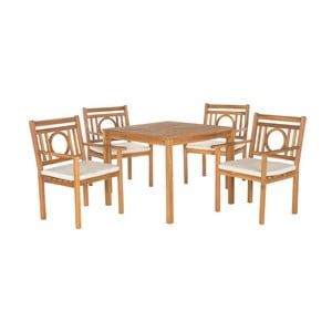 Hnědý set dřevěného venkovního stolu a židlí Safavieh Mendoza II